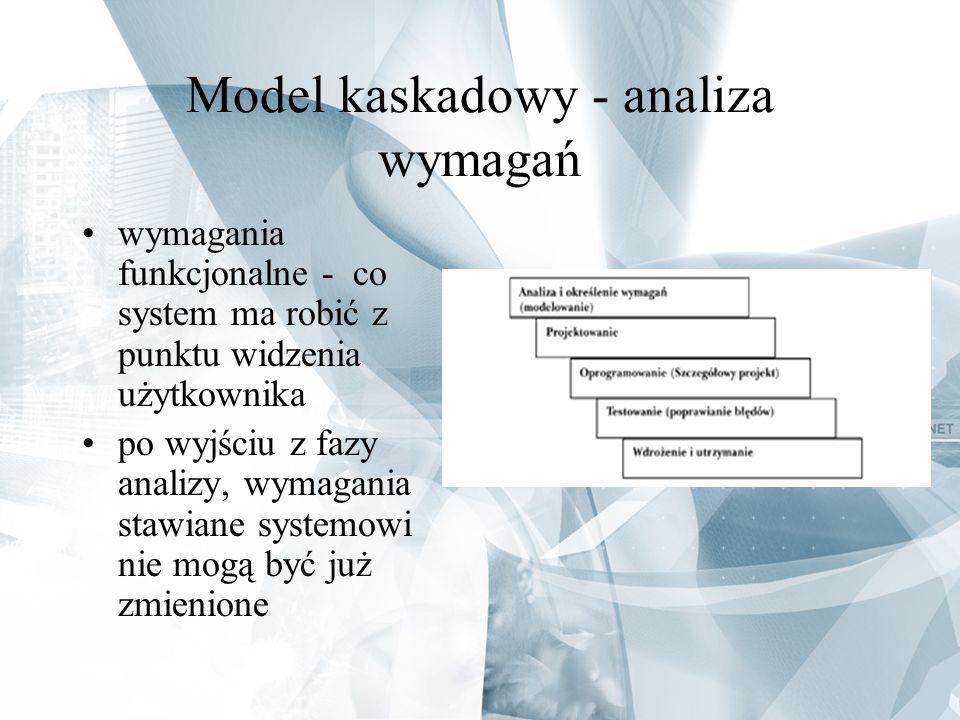Model kaskadowy - analiza wymagań wymagania funkcjonalne - co system ma robić z punktu widzenia użytkownika po wyjściu z fazy analizy, wymagania stawi