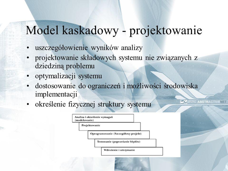 Model kaskadowy - projektowanie uszczegółowienie wyników analizy projektowanie składowych systemu nie związanych z dziedziną problemu optymalizacji sy
