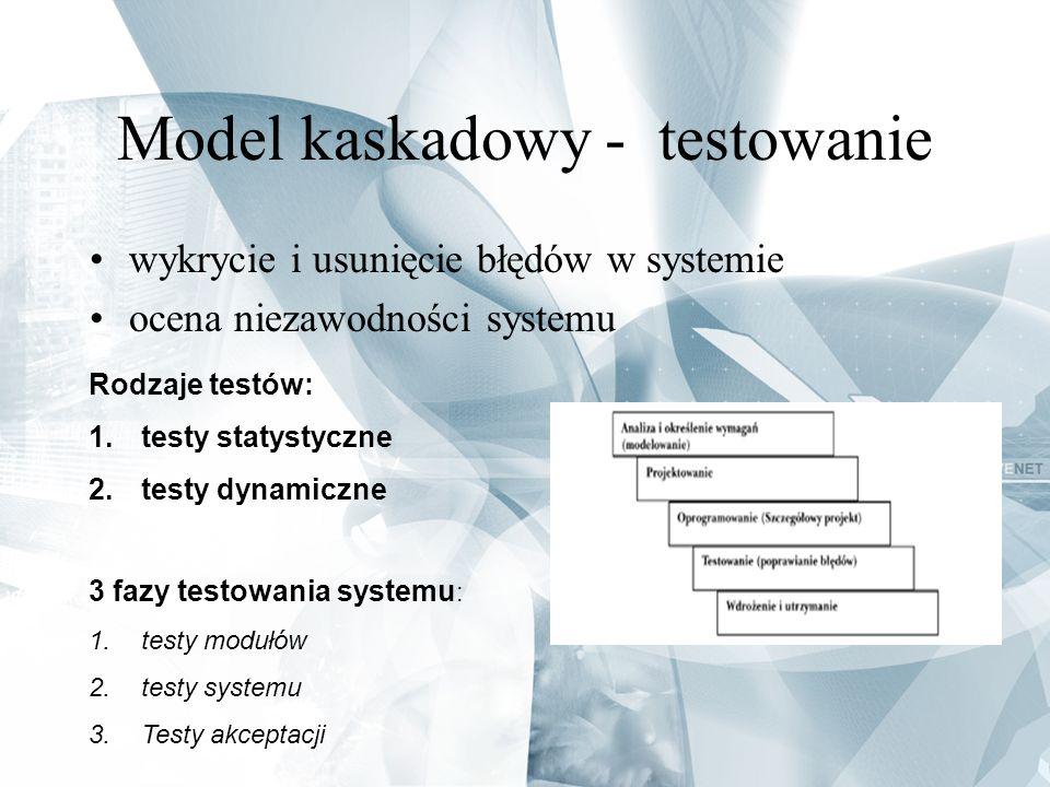 Model kaskadowy - testowanie wykrycie i usunięcie błędów w systemie ocena niezawodności systemu Rodzaje testów: 1.testy statystyczne 2.testy dynamiczn