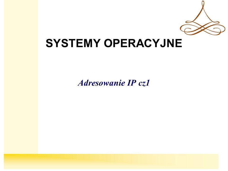 SYSTEMY OPERACYJNE Adresowanie IP cz1