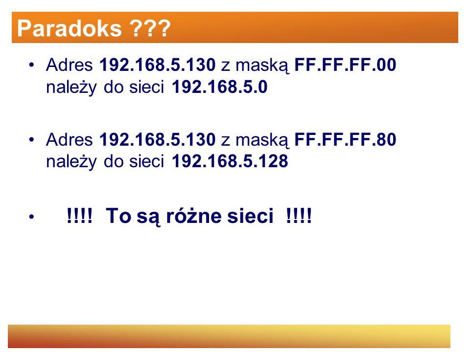 Paradoks ??? Adres 192.168.5.130 z maską FF.FF.FF.00 należy do sieci 192.168.5.0 Adres 192.168.5.130 z maską FF.FF.FF.80 należy do sieci 192.168.5.128