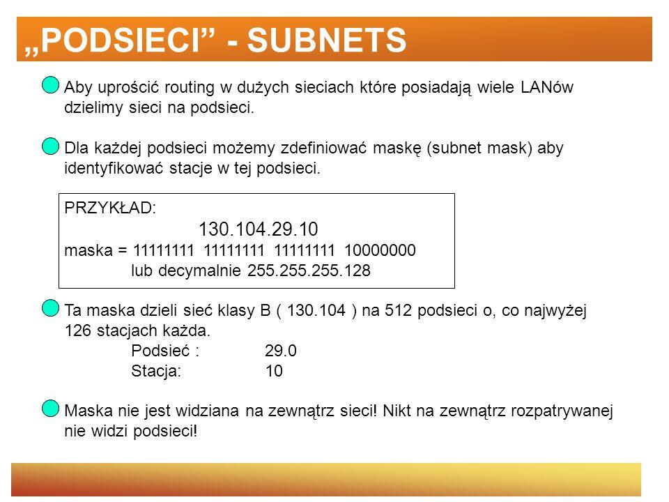 PODSIECI - SUBNETS Aby uprościć routing w dużych sieciach które posiadają wiele LANów dzielimy sieci na podsieci. Dla każdej podsieci możemy zdefiniow