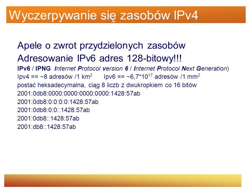 Wyczerpywanie się zasobów IPv4 Apele o zwrot przydzielonych zasobów Adresowanie IPv6 adres 128-bitowy!!! IPv6 / IPNG Internet Protocol version 6 / Int