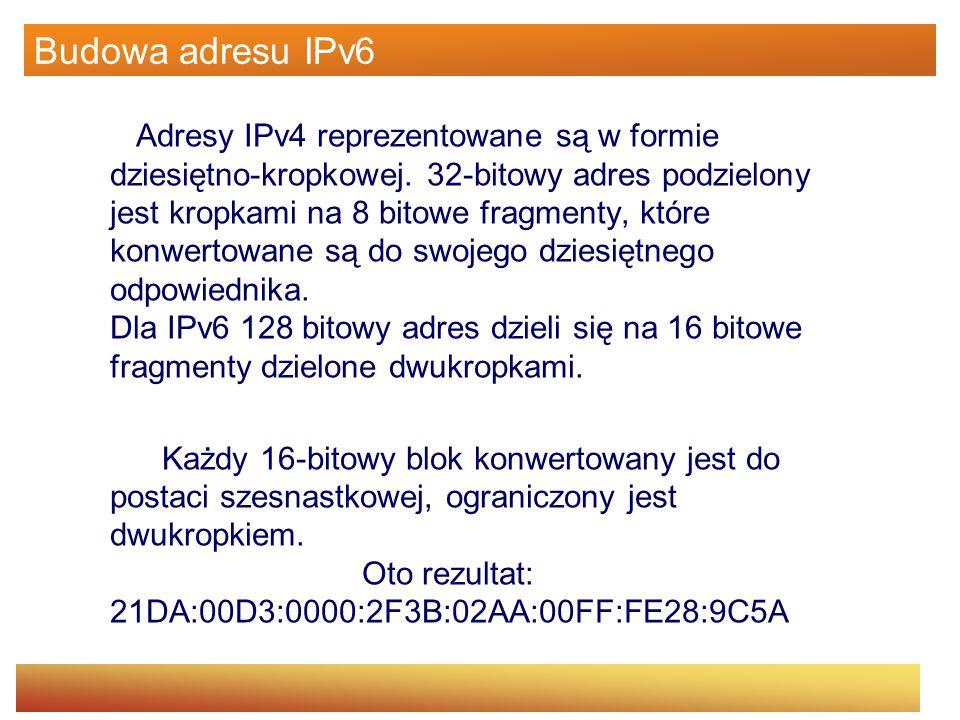 Budowa adresu IPv6 Adresy IPv4 reprezentowane są w formie dziesiętno-kropkowej. 32-bitowy adres podzielony jest kropkami na 8 bitowe fragmenty, które