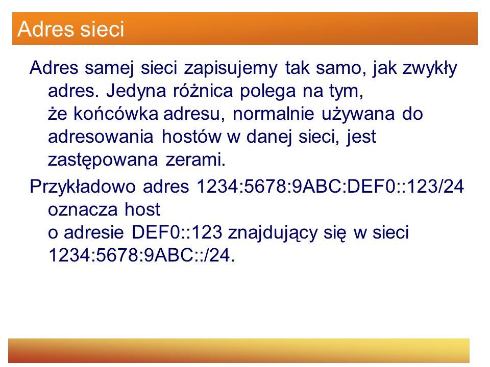 Adres sieci Adres samej sieci zapisujemy tak samo, jak zwykły adres. Jedyna różnica polega na tym, że końcówka adresu, normalnie używana do adresowani