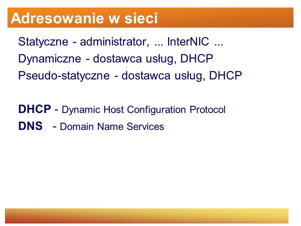 Adresowanie w sieci Statyczne - administrator,... InterNIC... Dynamiczne - dostawca usług, DHCP Pseudo-statyczne - dostawca usług, DHCP DHCP - Dynamic
