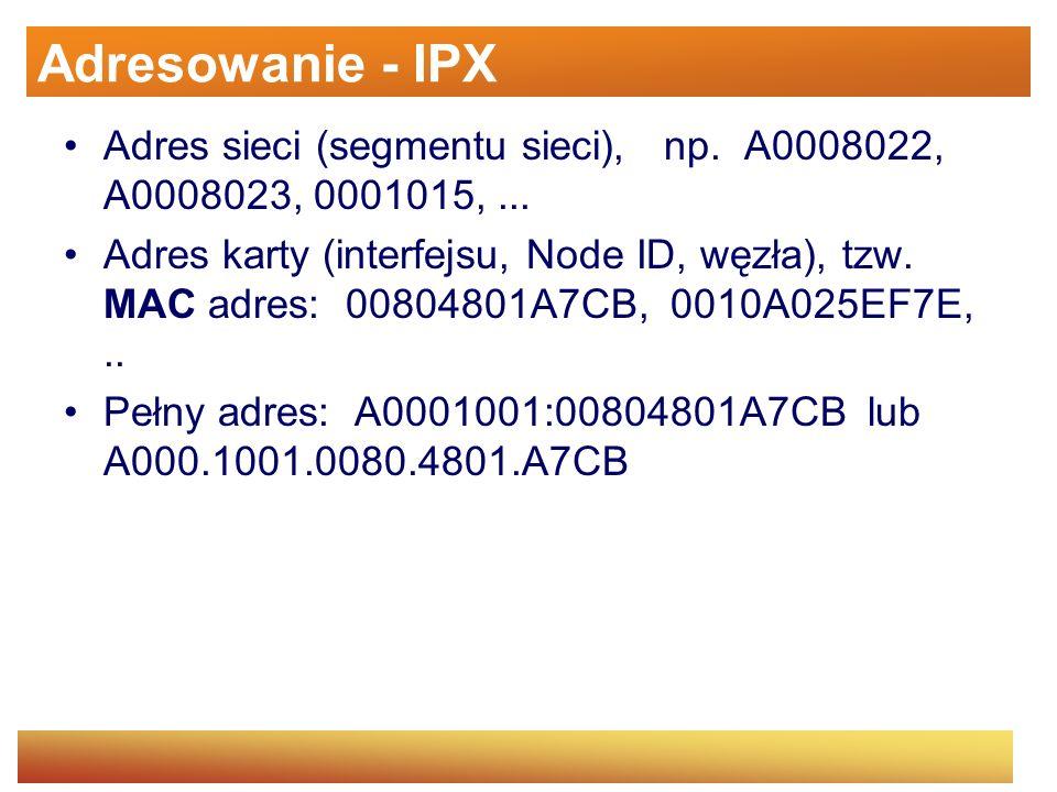 Adresowanie - IPX Adres sieci (segmentu sieci), np. A0008022, A0008023, 0001015,... Adres karty (interfejsu, Node ID, węzła), tzw. MAC adres: 00804801
