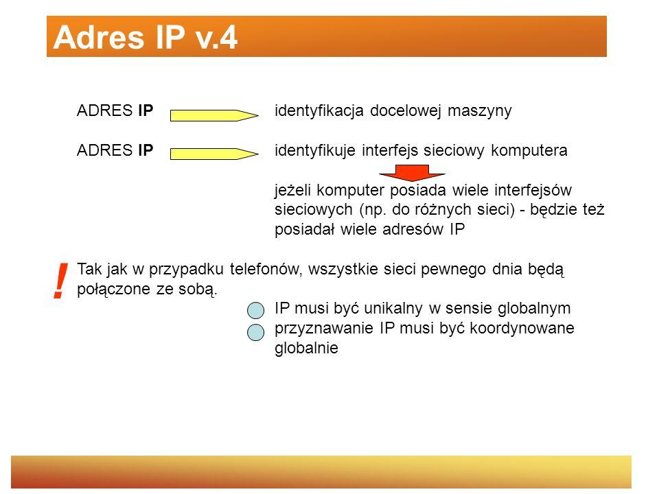 ADRES IP identyfikacja docelowej maszyny ADRES IPidentyfikuje interfejs sieciowy komputera jeżeli komputer posiada wiele interfejsów sieciowych (np. d