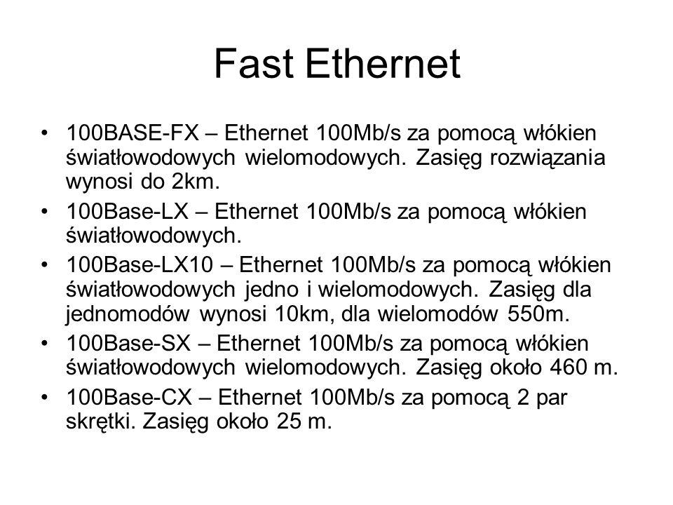 Fast Ethernet 100BASE-FX – Ethernet 100Mb/s za pomocą włókien światłowodowych wielomodowych. Zasięg rozwiązania wynosi do 2km. 100Base-LX – Ethernet 1