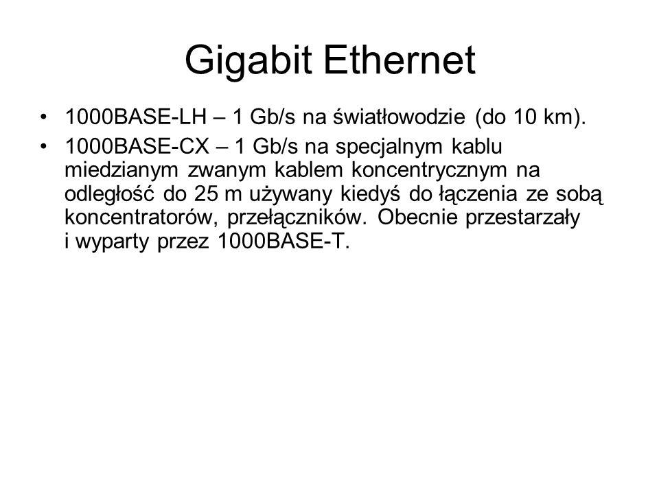 Gigabit Ethernet 1000BASE-LH – 1 Gb/s na światłowodzie (do 10 km). 1000BASE-CX – 1 Gb/s na specjalnym kablu miedzianym zwanym kablem koncentrycznym na