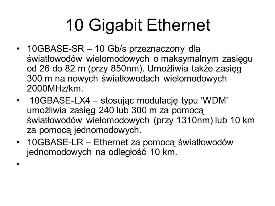 10 Gigabit Ethernet 10GBASE-SR – 10 Gb/s przeznaczony dla światłowodów wielomodowych o maksymalnym zasięgu od 26 do 82 m (przy 850nm). Umożliwia także