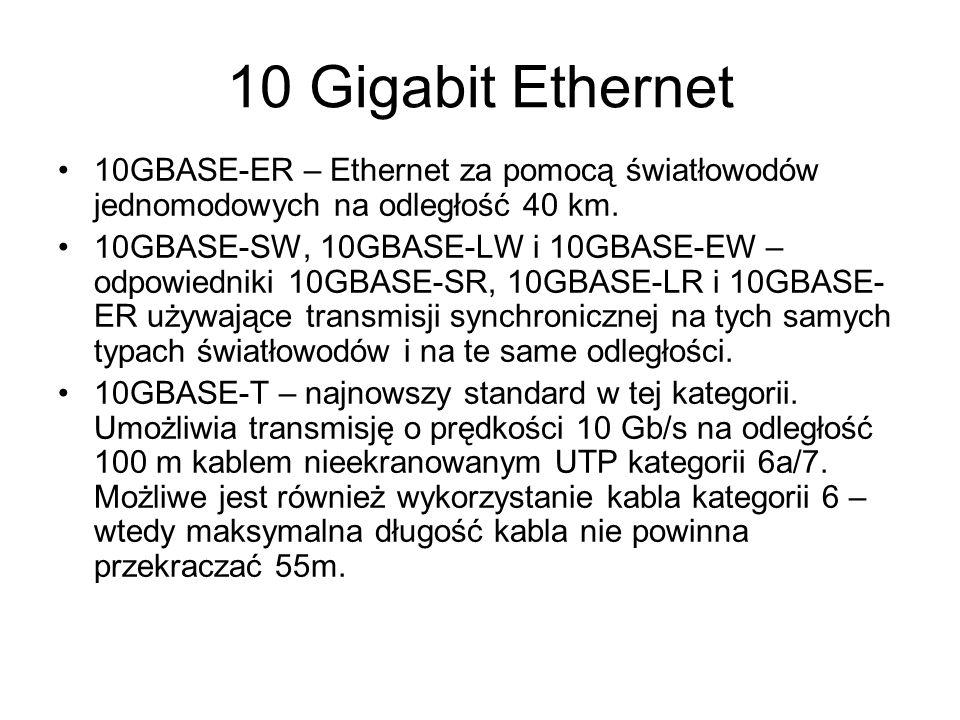 10 Gigabit Ethernet 10GBASE-ER – Ethernet za pomocą światłowodów jednomodowych na odległość 40 km. 10GBASE-SW, 10GBASE-LW i 10GBASE-EW – odpowiedniki