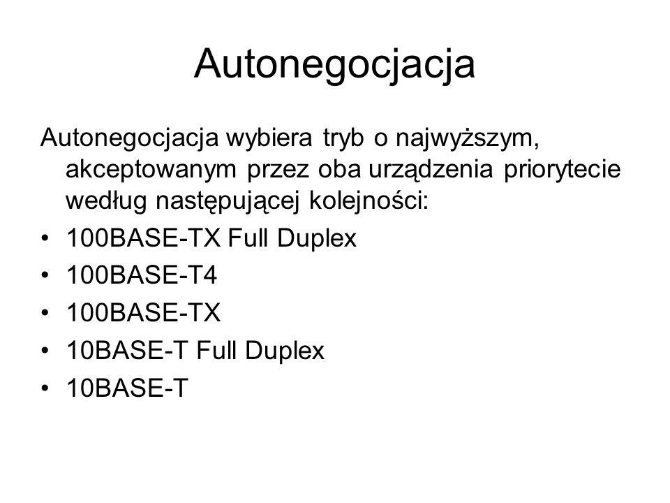 Autonegocjacja Autonegocjacja wybiera tryb o najwyższym, akceptowanym przez oba urządzenia priorytecie według następującej kolejności: 100BASE-TX Full