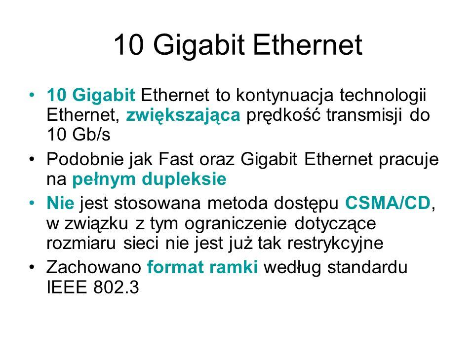 10 Gigabit Ethernet 10 Gigabit Ethernet to kontynuacja technologii Ethernet, zwiększająca prędkość transmisji do 10 Gb/s Podobnie jak Fast oraz Gigabi