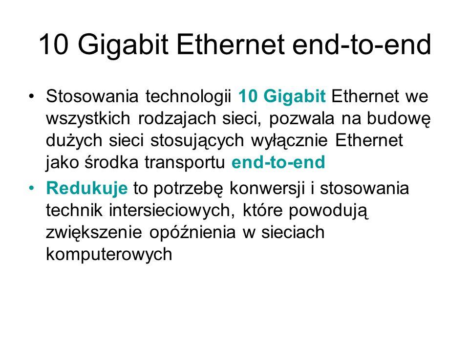 10 Gigabit Ethernet end-to-end Stosowania technologii 10 Gigabit Ethernet we wszystkich rodzajach sieci, pozwala na budowę dużych sieci stosujących wy