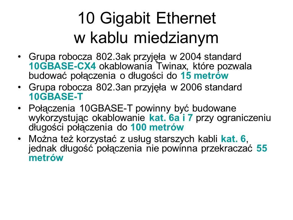 10 Gigabit Ethernet w kablu miedzianym Grupa robocza 802.3ak przyjęła w 2004 standard 10GBASE-CX4 okablowania Twinax, które pozwala budować połączenia