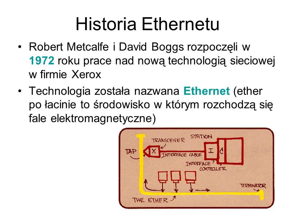 Historia Ethernetu Robert Metcalfe i David Boggs rozpoczęli w 1972 roku prace nad nową technologią sieciowej w firmie Xerox Technologia została nazwan