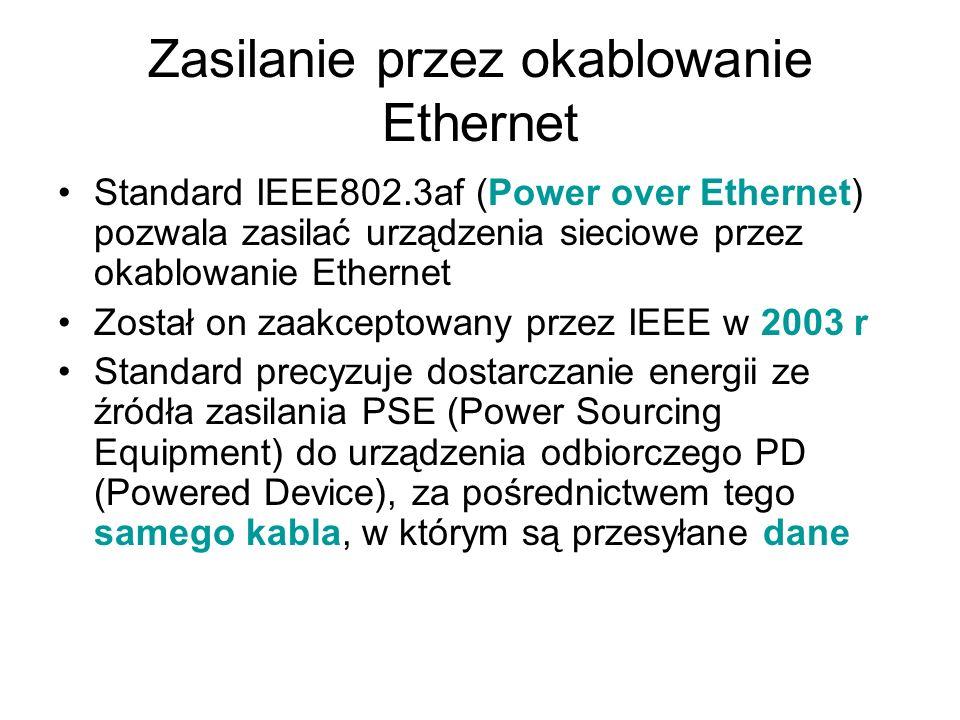 Zasilanie przez okablowanie Ethernet Standard IEEE802.3af (Power over Ethernet) pozwala zasilać urządzenia sieciowe przez okablowanie Ethernet Został