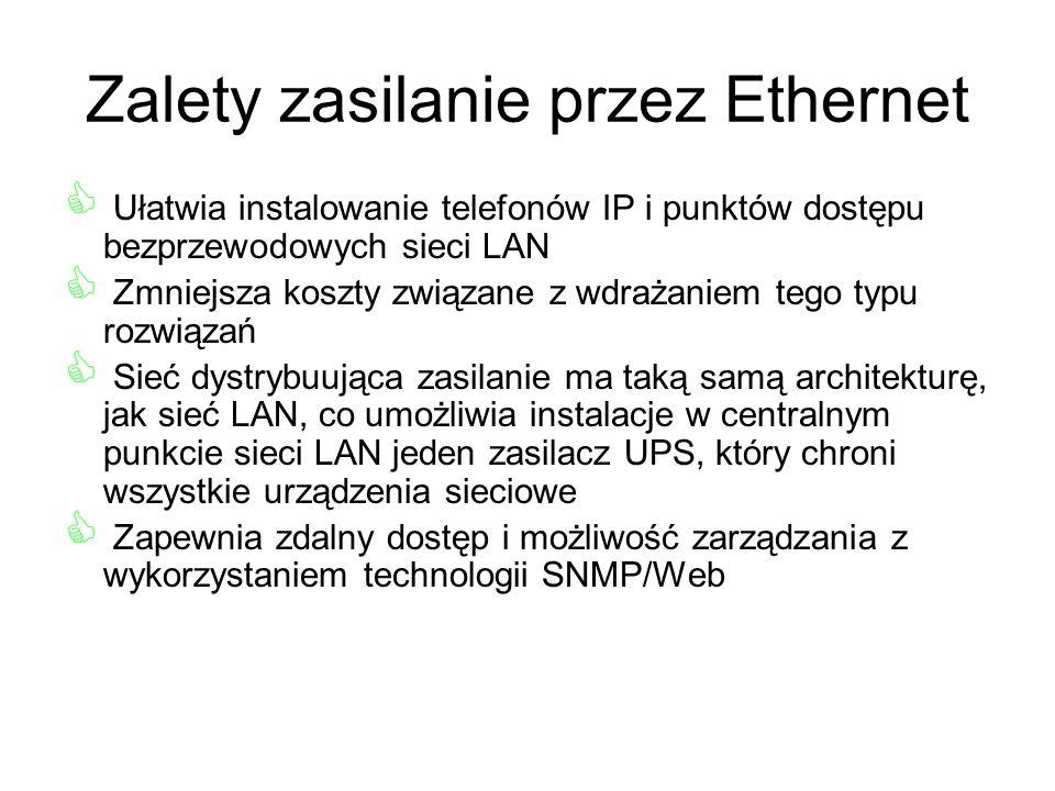 Zalety zasilanie przez Ethernet Ułatwia instalowanie telefonów IP i punktów dostępu bezprzewodowych sieci LAN Zmniejsza koszty związane z wdrażaniem t