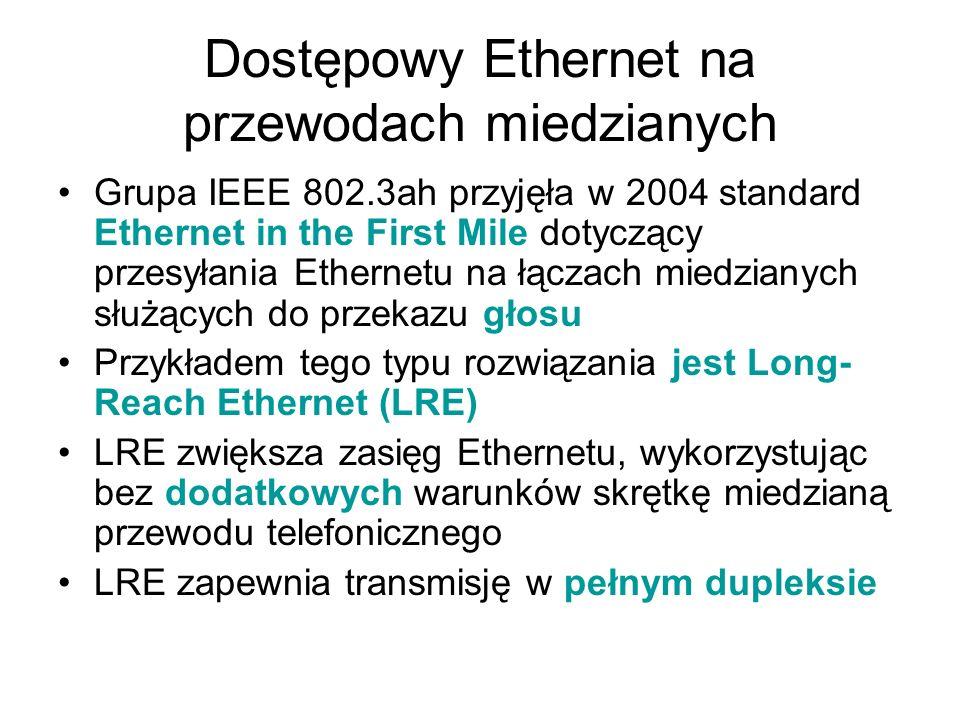 Dostępowy Ethernet na przewodach miedzianych Grupa IEEE 802.3ah przyjęła w 2004 standard Ethernet in the First Mile dotyczący przesyłania Ethernetu na