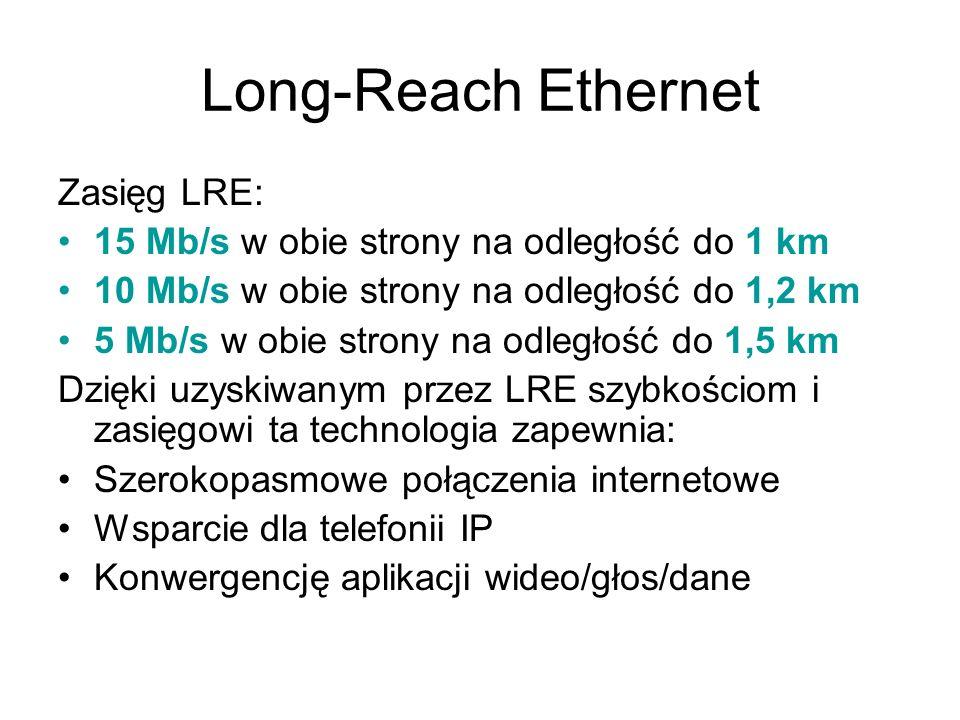 Long-Reach Ethernet Zasięg LRE: 15 Mb/s w obie strony na odległość do 1 km 10 Mb/s w obie strony na odległość do 1,2 km 5 Mb/s w obie strony na odległ