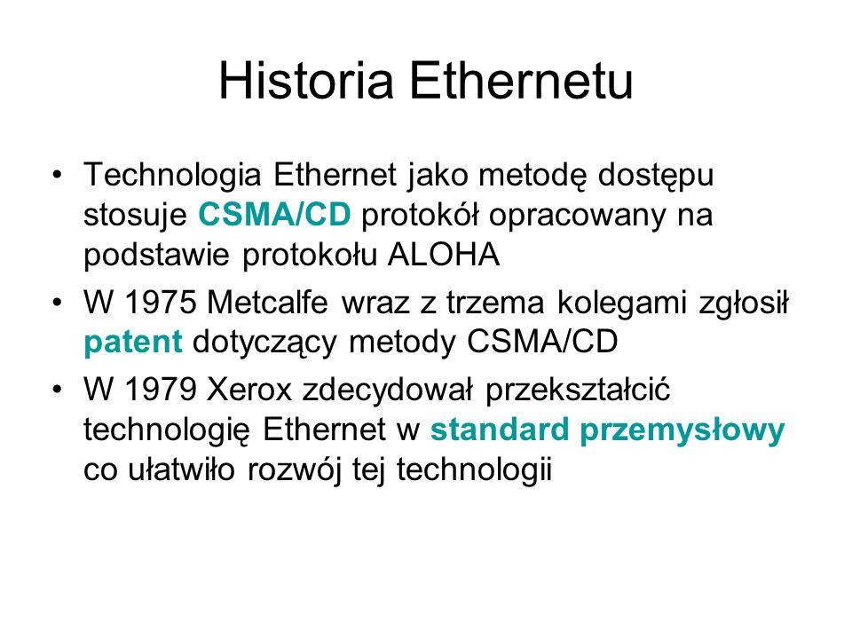 Historia Ethernetu Technologia Ethernet jako metodę dostępu stosuje CSMA/CD protokół opracowany na podstawie protokołu ALOHA W 1975 Metcalfe wraz z tr
