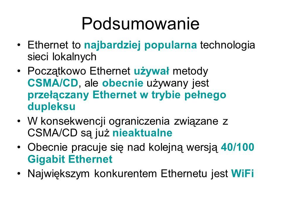 Ethernet to najbardziej popularna technologia sieci lokalnych Początkowo Ethernet używał metody CSMA/CD, ale obecnie używany jest przełączany Ethernet