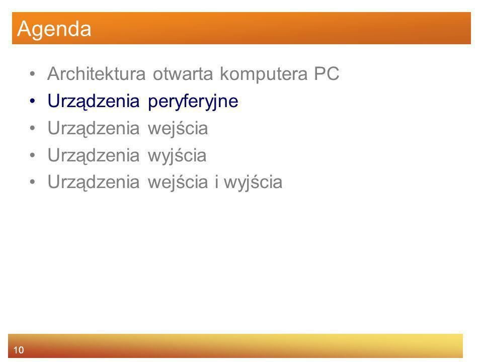 10 Agenda Architektura otwarta komputera PC Urządzenia peryferyjne Urządzenia wejścia Urządzenia wyjścia Urządzenia wejścia i wyjścia