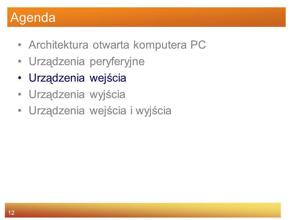 12 Agenda Architektura otwarta komputera PC Urządzenia peryferyjne Urządzenia wejścia Urządzenia wyjścia Urządzenia wejścia i wyjścia