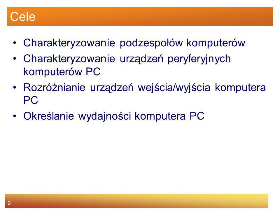 2 Cele Charakteryzowanie podzespołów komputerów Charakteryzowanie urządzeń peryferyjnych komputerów PC Rozróżnianie urządzeń wejścia/wyjścia komputera