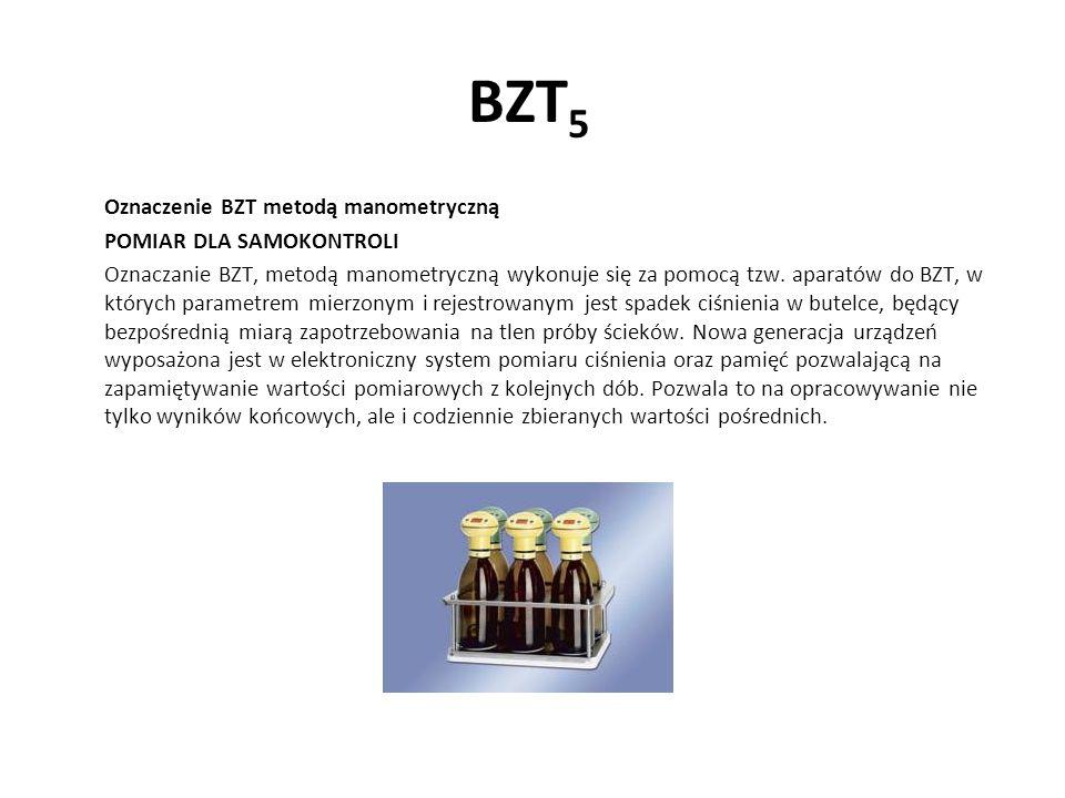 BZT 5 Oznaczenie BZT metodą manometryczną POMIAR DLA SAMOKONTROLI Oznaczanie BZT, metodą manometryczną wykonuje się za pomocą tzw. aparatów do BZT, w