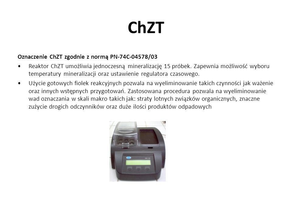 ChZT Oznaczenie ChZT zgodnie z normą PN-74C-04578/03 Reaktor ChZT umożliwia jednoczesną mineralizację 15 próbek. Zapewnia możliwość wyboru temperatury