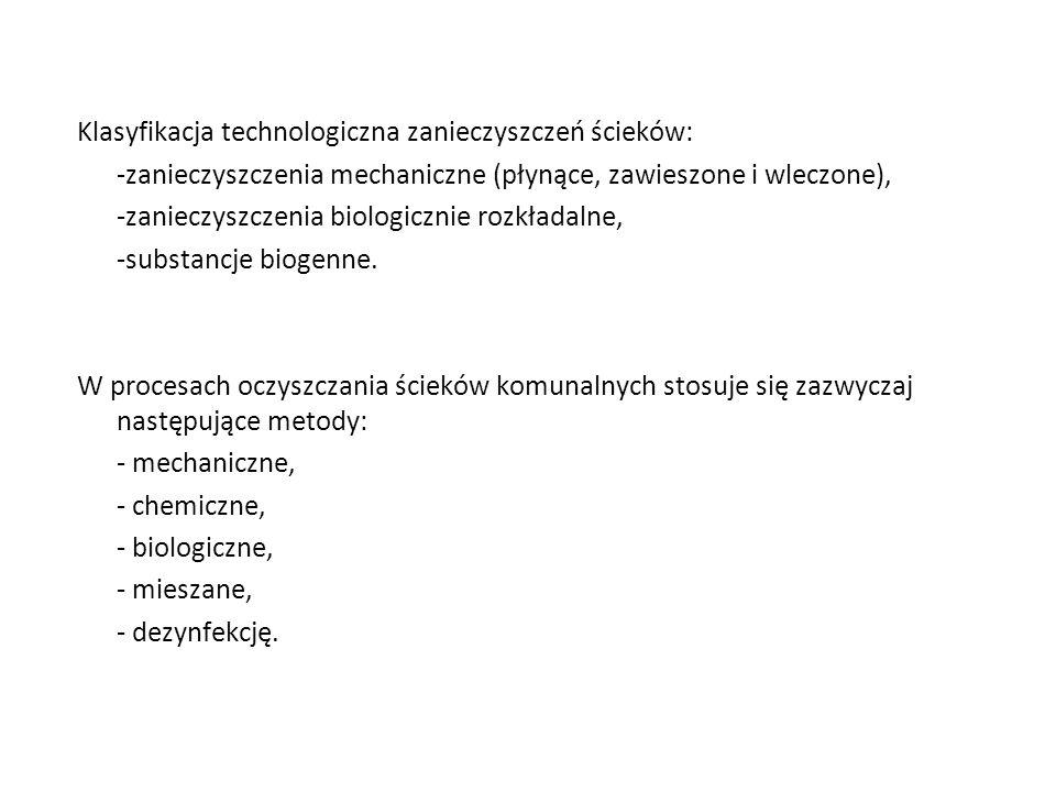 Klasyfikacja technologiczna zanieczyszczeń ścieków: -zanieczyszczenia mechaniczne (płynące, zawieszone i wleczone), -zanieczyszczenia biologicznie roz