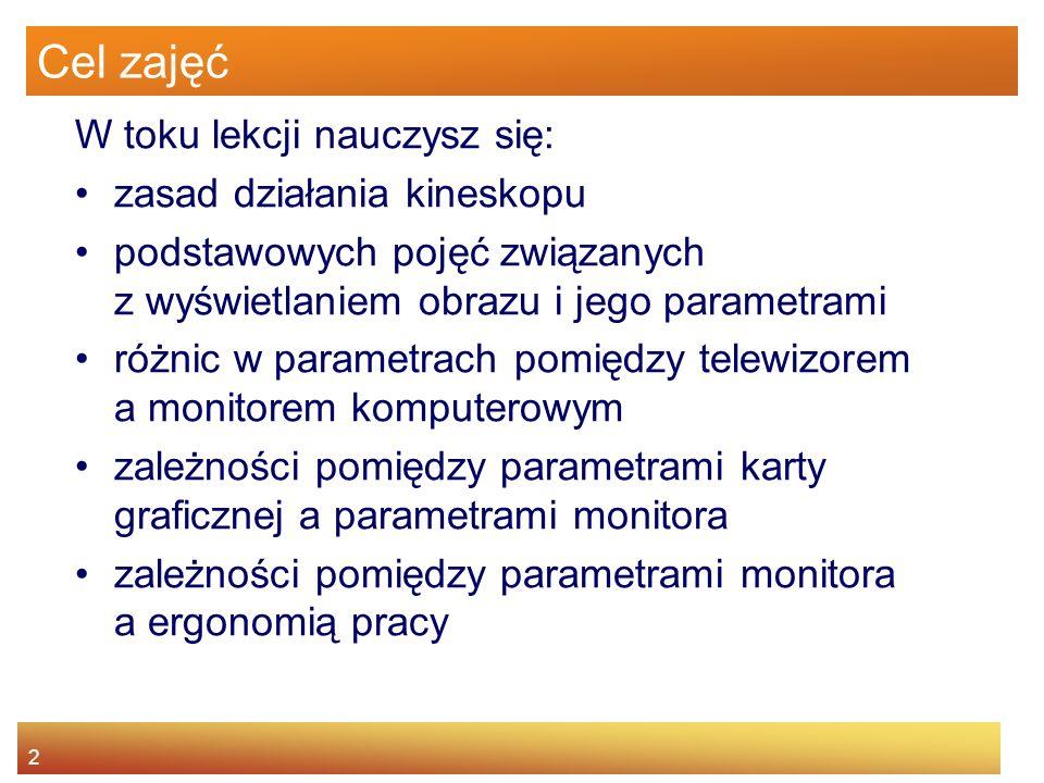 3 Agenda Zasady działania kineskopu Pojęcia związane z wyświetlaniem obrazu Telewizor vs monitor komputerowy Karta graficzna a parametry monitora Parametry monitora a ergonomia pracy
