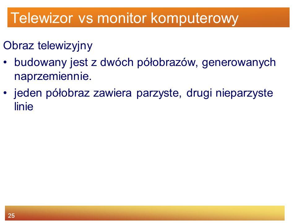 25 Telewizor vs monitor komputerowy Obraz telewizyjny budowany jest z dwóch półobrazów, generowanych naprzemiennie. jeden półobraz zawiera parzyste, d