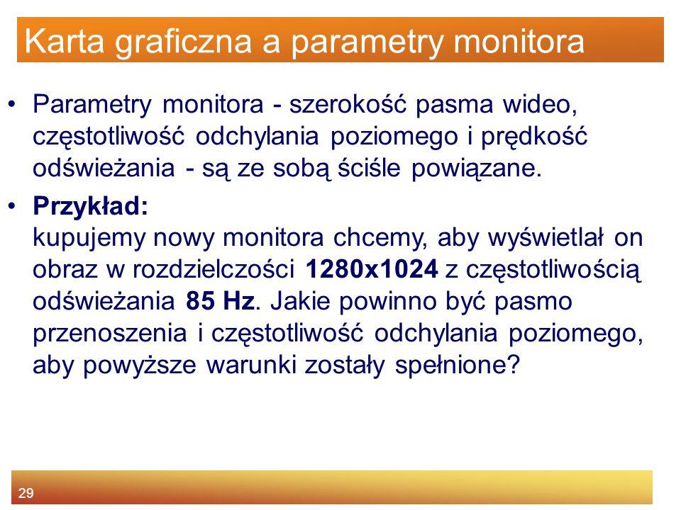 29 Karta graficzna a parametry monitora Parametry monitora - szerokość pasma wideo, częstotliwość odchylania poziomego i prędkość odświeżania - są ze