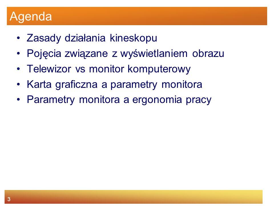 24 Agenda Zasady działania kineskopu Pojęcia związane z wyświetlaniem obrazu Telewizor vs monitor komputerowy Karta graficzna a parametry monitora Parametry monitora a ergonomią pracy