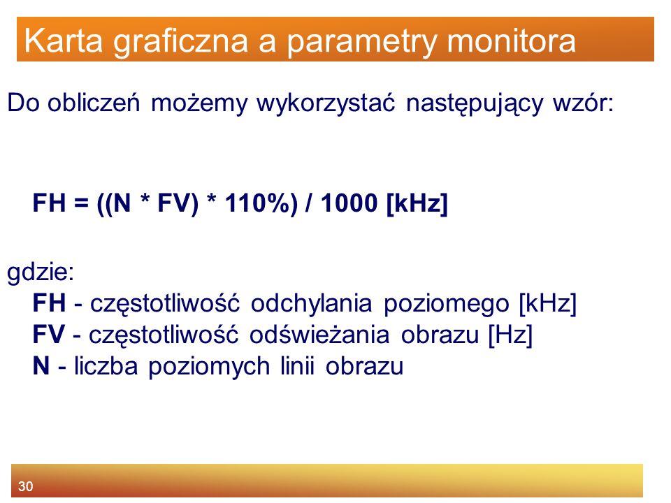 30 Karta graficzna a parametry monitora Do obliczeń możemy wykorzystać następujący wzór: FH = ((N * FV) * 110%) / 1000 [kHz] gdzie: FH - częstotliwość