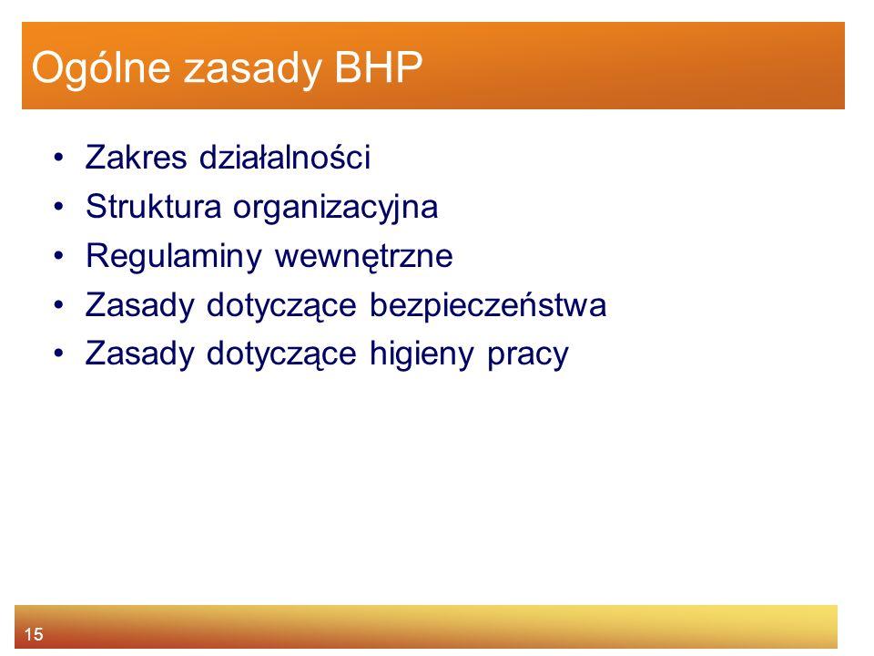 14 Agenda Istota BHP Główne źródła prawa pracy Prawa i obowiązki pracownika oraz pracodawcy Nadzór i kontrola warunków pracy Odpowiedzialność za narus