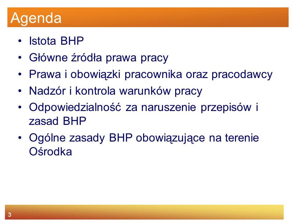 2 Cel Prezentacja i omówienie obowiązujących przepisów w zakresie ochrony pracy zapoznanie z zasadami BHP obowiązującymi w Ośrodku Kształtowanie umiej