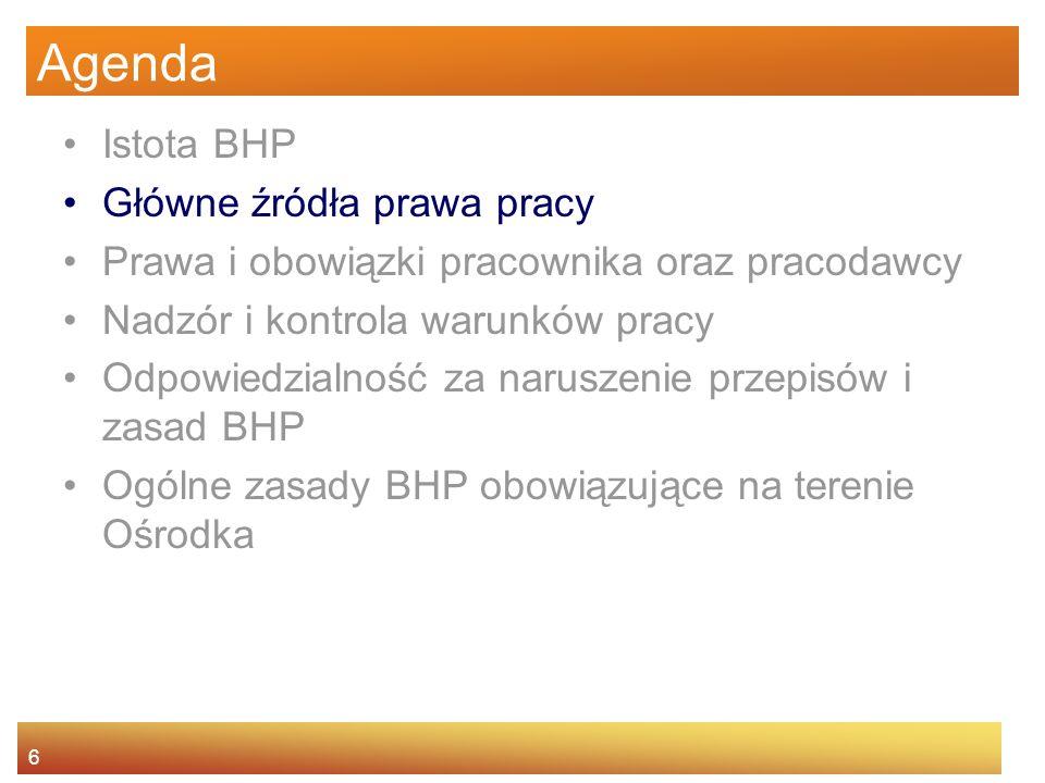 5 Istota BHP Dlaczego zajmujemy się BHP? Podstawowe pojęcia –bezpieczeństwo pracy –higiena pracy –ochrona pracy System ochrony pracy w Polsce