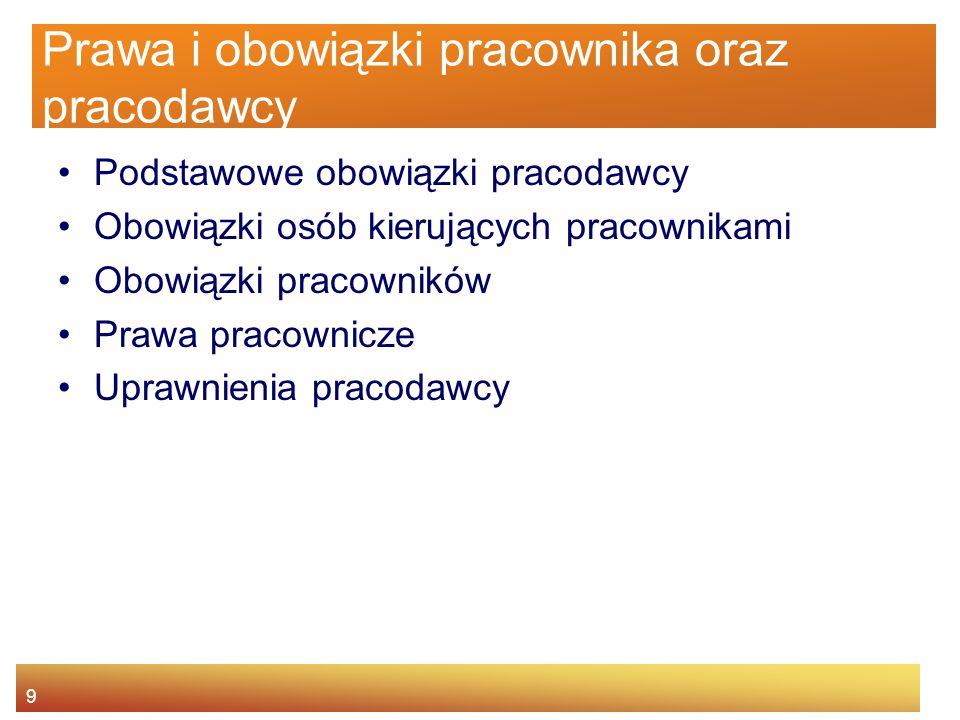 8 Agenda Istota BHP Główne źródła prawa pracy Prawa i obowiązki pracownika oraz pracodawcy Nadzór i kontrola warunków pracy Odpowiedzialność za narusz