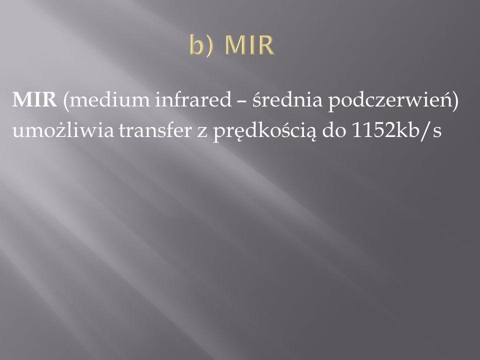 MIR (medium infrared – średnia podczerwień) umożliwia transfer z prędkością do 1152kb/s