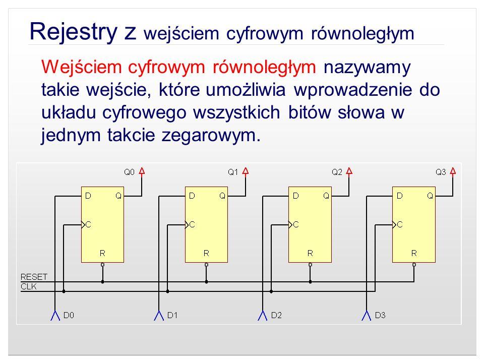 Rejestry z wejściem cyfrowym równoległym Wejściem cyfrowym równoległym nazywamy takie wejście, które umożliwia wprowadzenie do układu cyfrowego wszyst