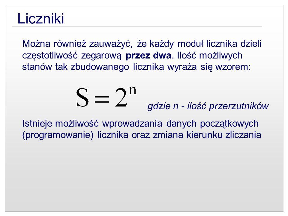 Liczniki Można również zauważyć, że każdy moduł licznika dzieli częstotliwość zegarową przez dwa. Ilość możliwych stanów tak zbudowanego licznika wyra