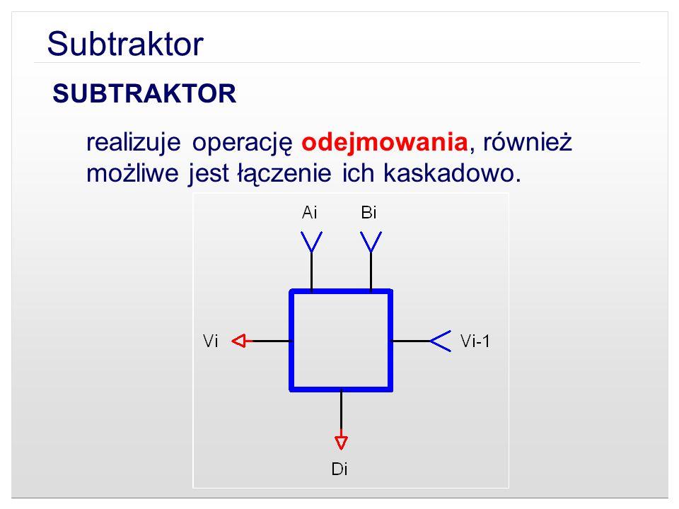 SUBTRAKTOR realizuje operację odejmowania, również możliwe jest łączenie ich kaskadowo.
