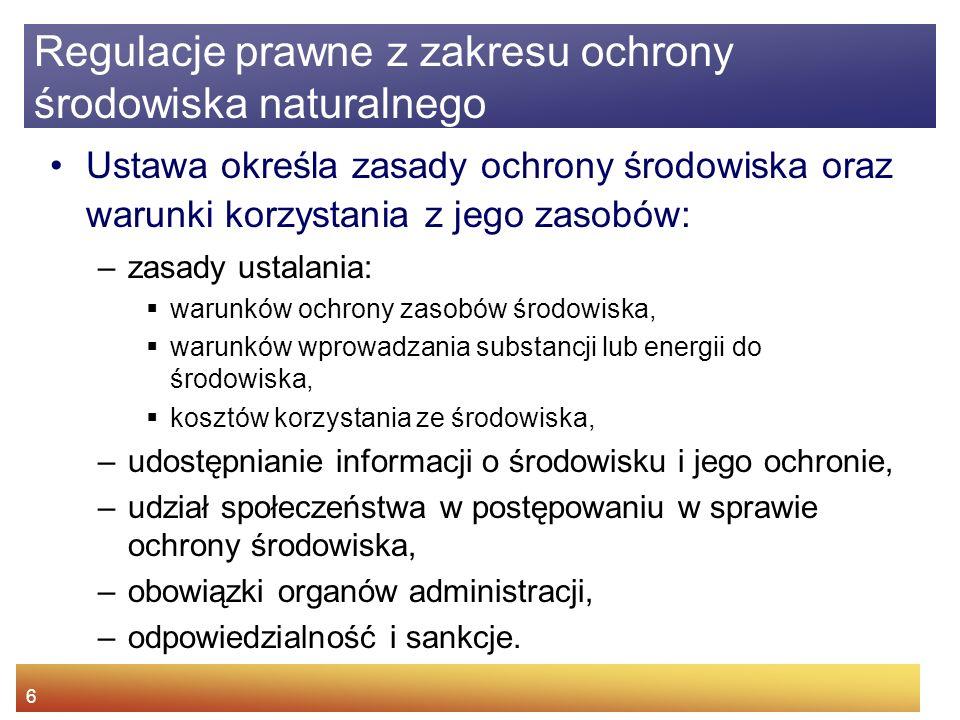 5 Ustawa z dnia 27.04 2001 r. Prawo ochrony środowiska (DZ. U. Nr 62, poz. 627) Regulacje prawne z zakresu ochrony środowiska naturalnego