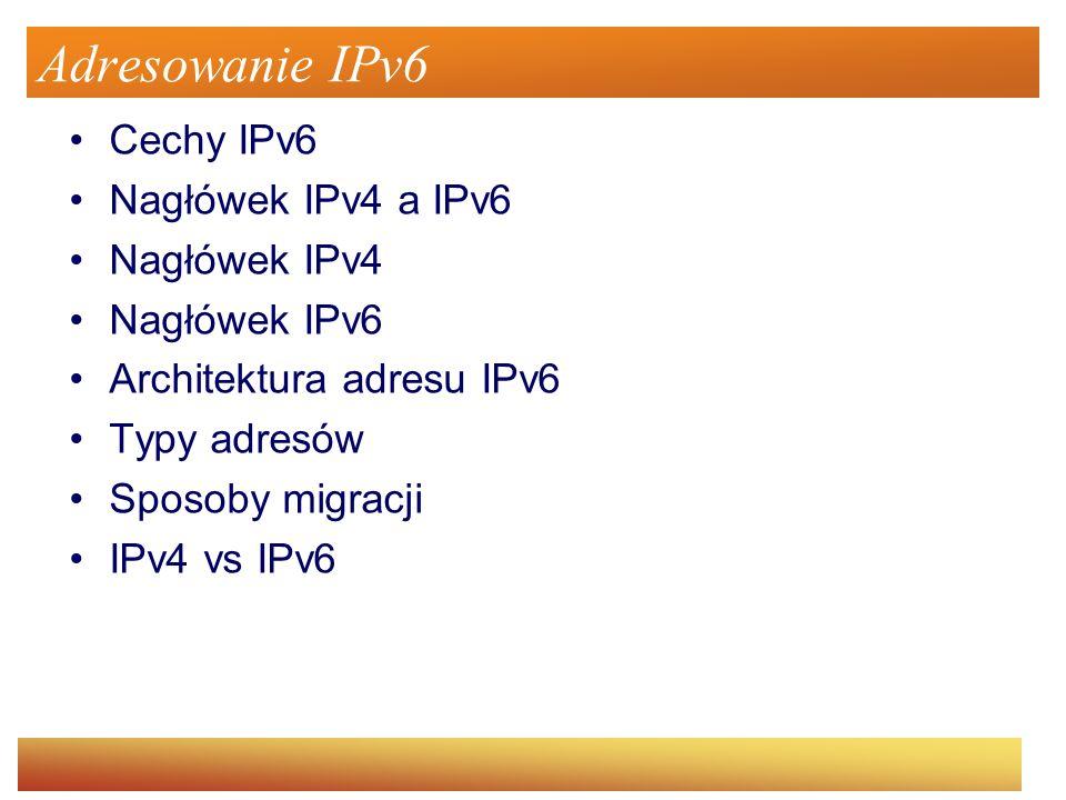 Cechy IPv6 Nowy format nagłówka Dużo większa przestrzeń adresowa Hierarchiczne adresowanie Uproszczona automatyczna konfiguracja (DHCPv6) Gwarancja QoS