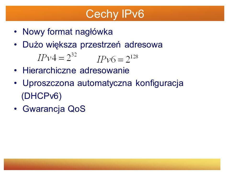 IPv4 vs IPv6 IPv4IPv6 Adres długości 32 bit-yAdres długości 128 bit-ów Maska sieciowaBrak maski sieciowej Wsparcie dla IPSec opcjonalneWsparcie dla IPSec obowiązkowe Suma kontrolna w nagłówkuBrak sumy kontrolnej w nagłówku Dodatkowe opcje w nagłówkuDodatkowe opcje przeniesione do pola Następny nagłówek Musi być skonfigurowany ręcznie bądź przez DHCP Nie musi być konfigurowany ani ręcznie ani przez DHCP