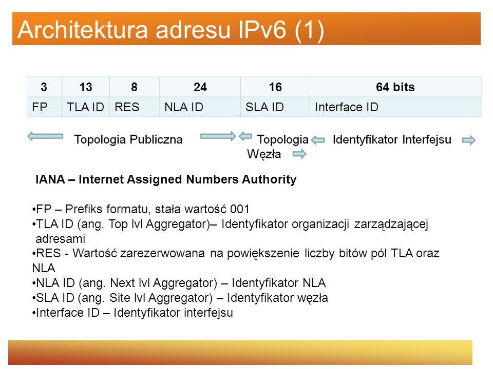 Architektura adresu IPv6 (2) Przykładowy adres IPv6 3ffe:8010:0007:00d3:0000:0000:0000:0005 Grupę 4 zer można zastąpić jednym 3ffe:8010:0007:00d3:0:0:0:5 Zera nieznaczące można pominąć 3ffe:8010:7:d3:0:0:0:5 Agregacja zer 3ffe:8010:7:d3::5